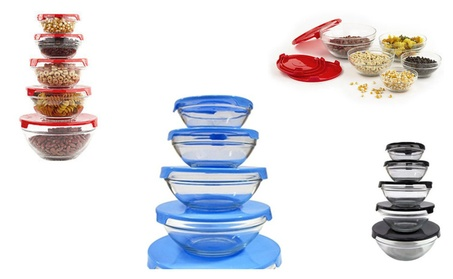 Home Colorful Durable Glass Storage-Bowl Sets with Plastic Lids 551a39c9-99f2-4645-8166-4615e9ba5f15