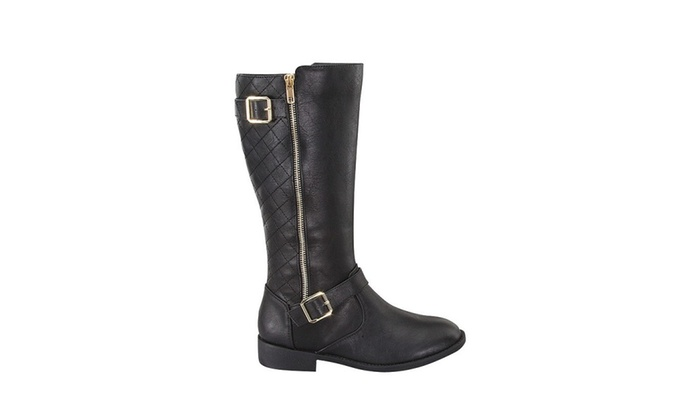 Becca Quilted Zipper Trim Buckled Riding Boots