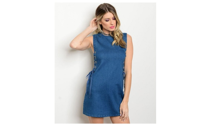 Sleeveless side grommet and lace up detail Denim Shift Dress