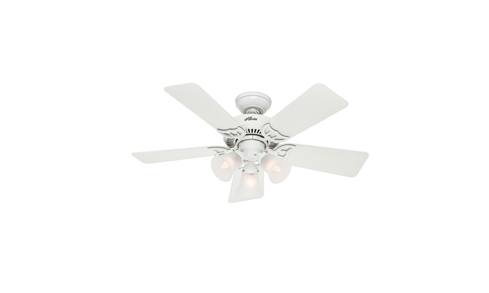 Hunter 42 in white ceiling fan with 3 light fixture certified white ceiling fan with 3 light fixture certified refurbished groupon mozeypictures Image collections