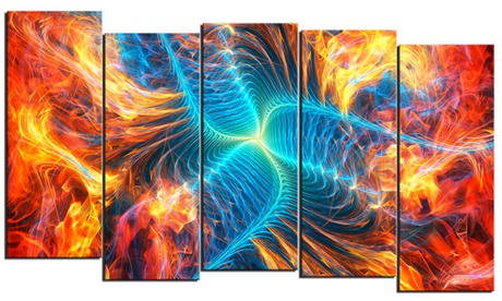 Electric Fire - Large Abstract Wall Art - 60x32 - 5 Panels db2c00a8-6f77-4b28-9e5b-4c507be7693e
