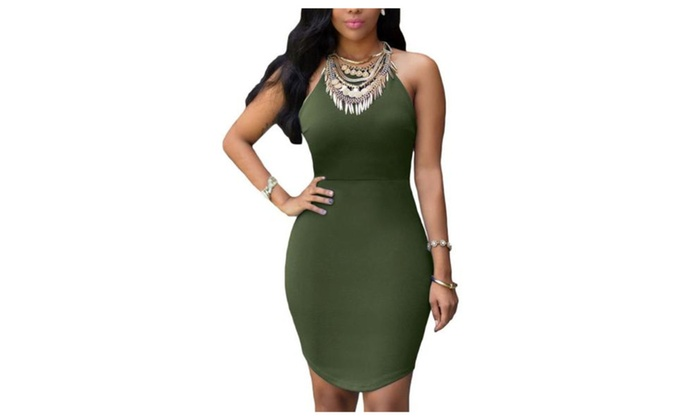 Women's Casual Pencil Empire Waist Slim Fit Dresses