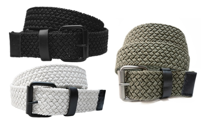 AK744 - Men's Casual Nautical Woven Braided Cotton Roller Buckle Belt