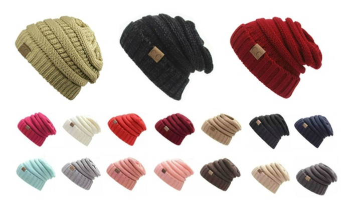c740b7cd974 ... CC labeling Beanies Winter Knitted Wool Cap Unisex Folds Casual Hat ...
