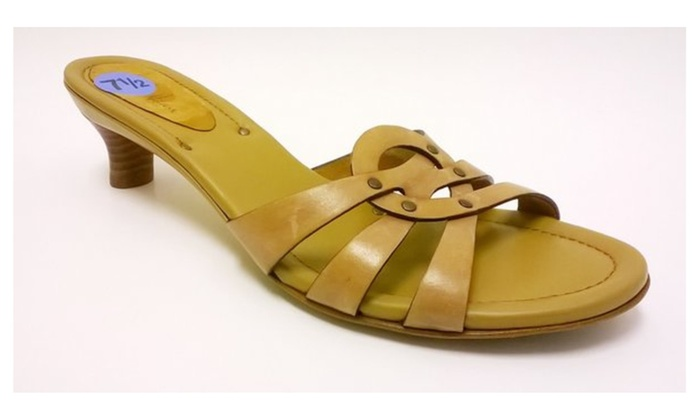 New Ladies Cole Haan Ladies Tan Leather Slide Sandal Heel Size 7 1/2