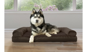 Plush and Suede Cooling Gel Memory Foam Sofa Pet Bed