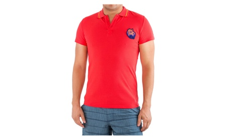 Just Cavalli Designer Men Red Short Sleeve Polo Shirt 100% Cotton 178d1fd9-a9f3-412a-ac25-56cdf2e52eb2