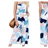 Womens Sexy Print Romper Casual Strapless Wide Leg Jumpsuit