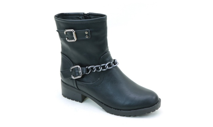 Moto Chain Anklet Combat Lug Women's Vegan Leather Boots