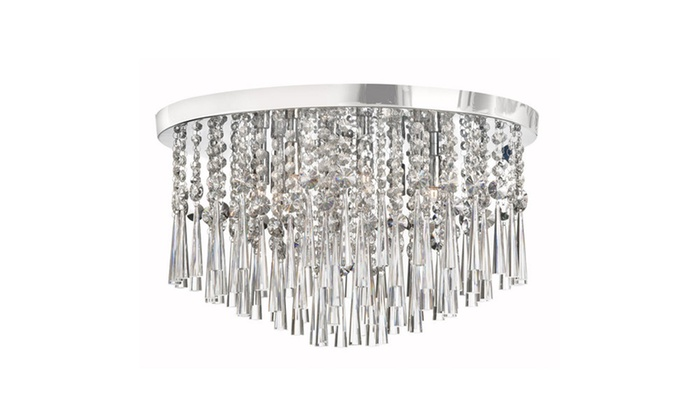 Polished Chrome Crystal Chandelier with Drum Shade