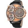 Joshua & Sons Men's  Triple Time Zone Leather Strap Watch JXGP105