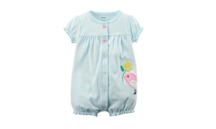 fc4b0cae0 Carter s Baby Girl s Snap-Up Cotton Romper Striped Bird Newborn ...