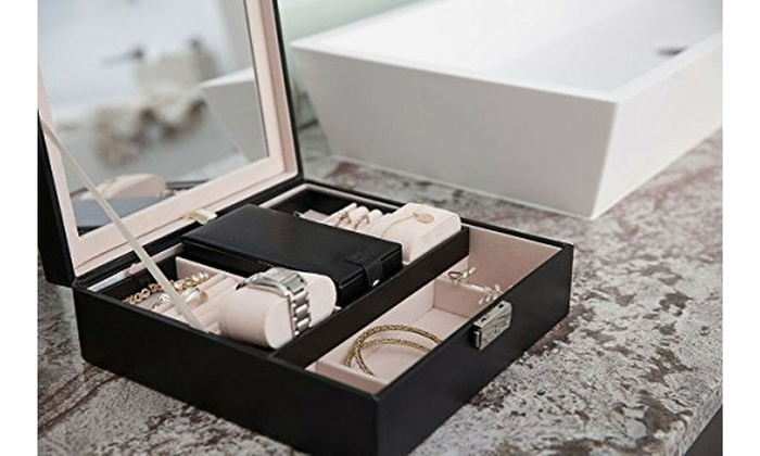 Up To 86 Off On Black Leather Jewelry Box Org Groupon Goods