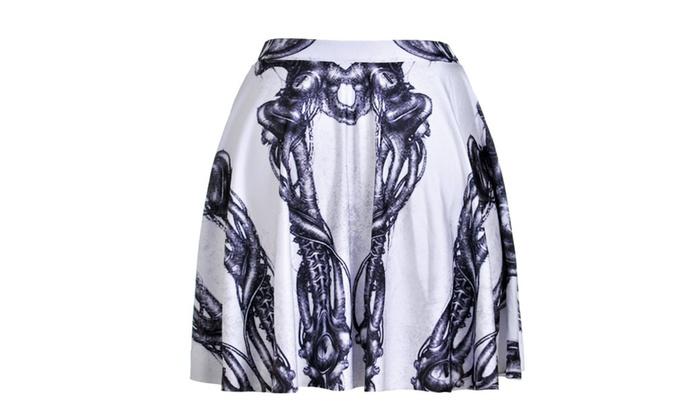 Digital print white skull skirt skirt