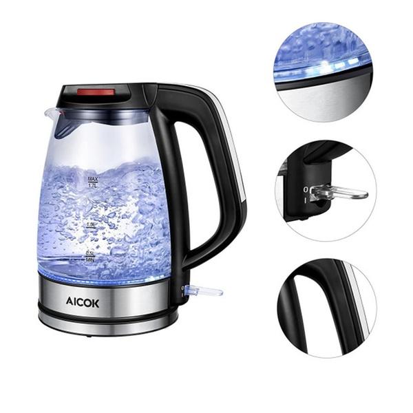 aicok electric kettle speedboil 1500w bpa free glass tea kettle