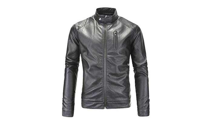 Mens Fashion Stand Collar Zip Front Washed Pu Leather Jacket