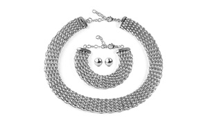 Stainless Steel Hollow Mesh Jewelry Set
