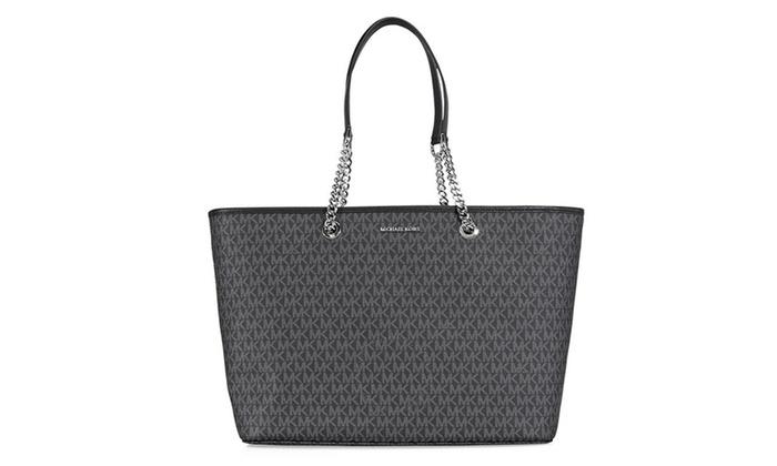 9ece9a8a0a6c ... Large Black Leather Bag. Michael Kors Jet Set Multi Function Pvc Tote  Black 30s7sj8t2v 001