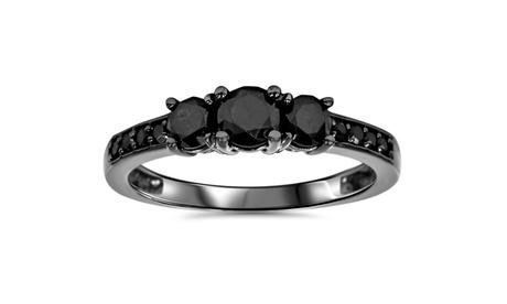 1 1/5 CT Black Diamond 3 Stone Ring 10K Black Gold 8402872f-b790-401a-9178-d84afea3304b