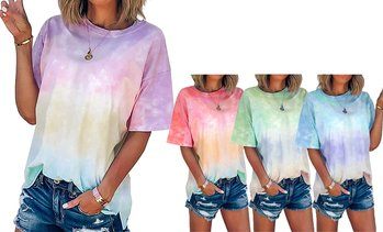 Women's Short Sleeve Tie Dye Blouse Summer Casual Tops Loose Tunic T-Shirt