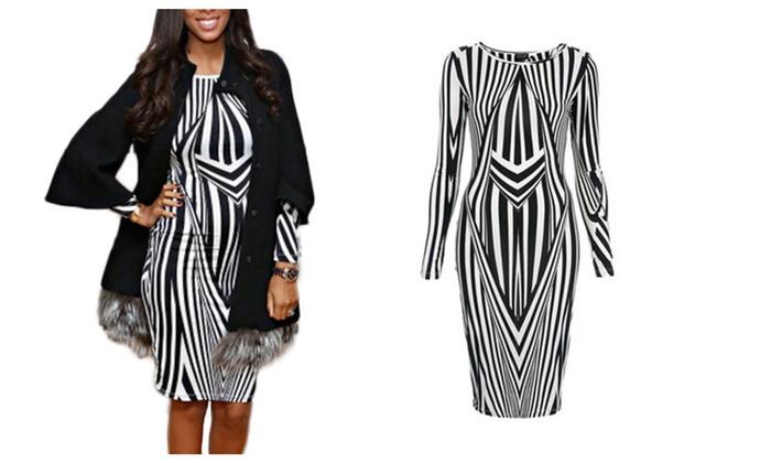 Shefetch Women's Long Sleeve Stripes Print Club Dress