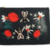 Leather Envelope Embroidery Clutch With Rose Chain Shoulder Bag