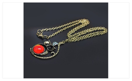 Fashion Girls Crystal Owl Pendant With Vintage Chain Necklace 52e96112-8395-4bcd-b5af-245510242d5e