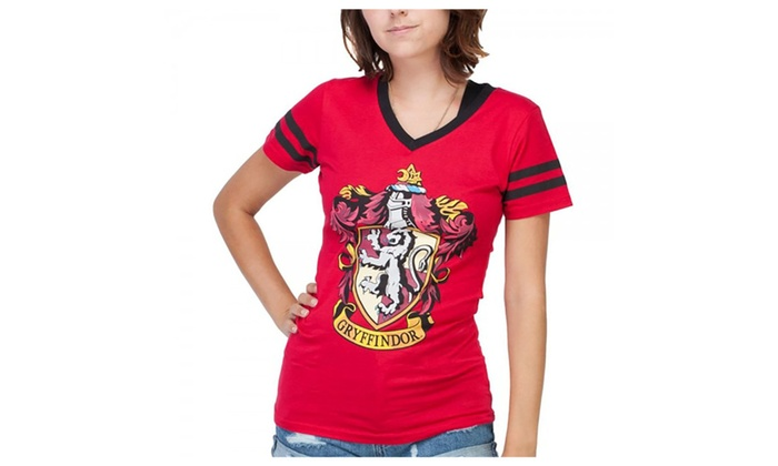 Harry Potter Gryffindor Crest V-Neck Womens Girls Red T ...