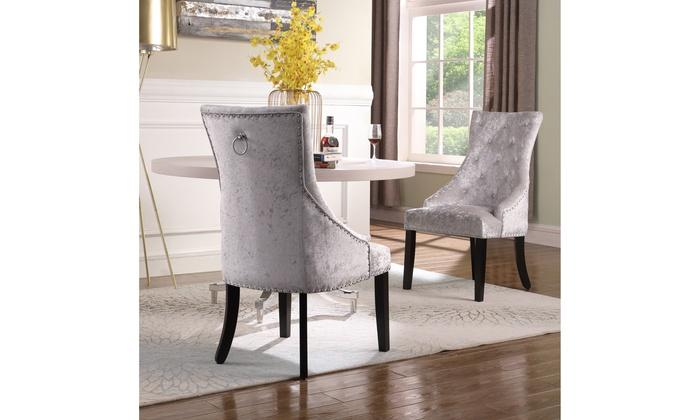 Awe Inspiring Rakel Dining Side Accent Chair Button Tufted Velvet Set Of Frankydiablos Diy Chair Ideas Frankydiabloscom