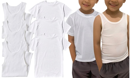(3 or 6 Pack) Boy's Essential Cotton Blend A-Shirt & T-Shirts
