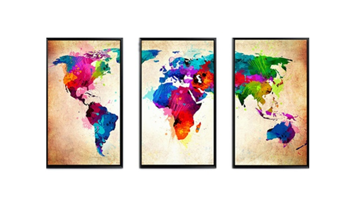 Frameless huge wall art oil painting on canvas colorful world map frameless huge wall art oil painting on canvas colorful world map home gumiabroncs Images