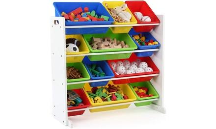 Kids' Toy Storage Organizer with 12 Plastic Bins