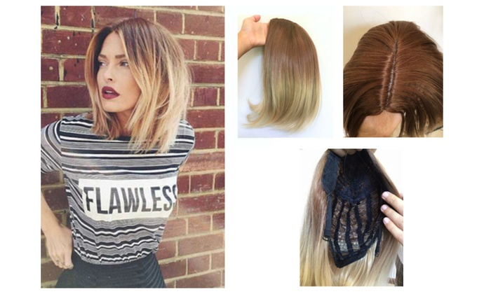 Short Straight Ombre Balayage Bob Full Head Wig Brown Blonde