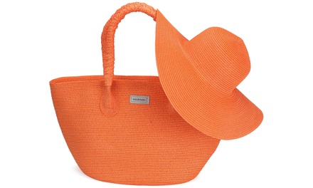 Mio Marino Women's Beach Tote Bag and Sun Hat Combo - Straw Hat Offers UPF 50