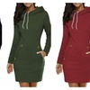 Women Plus Size Pullover Drawstring Sweater Sweatshirts Mini Dress