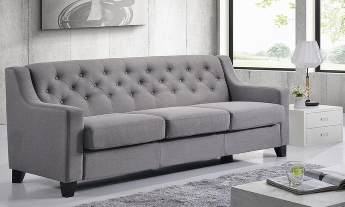 Arcadia Fabric Upholstered Tufted Three Seater Sofa