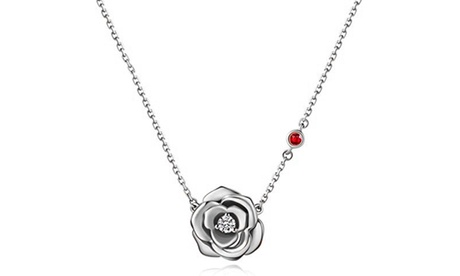 Rose Flower Crystal Necklace Made With Crystals From Swarovski