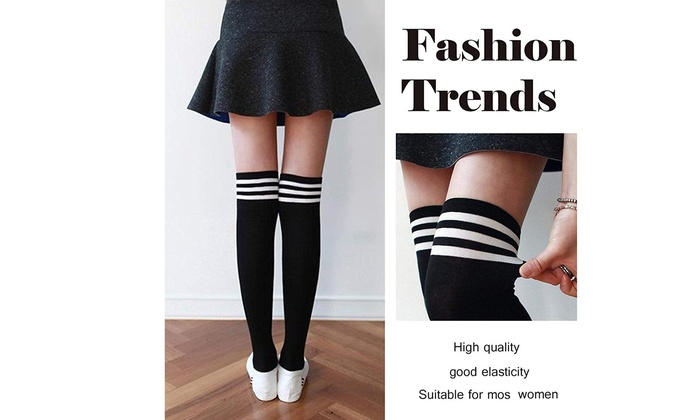 Up To 61 Off On 2 Pairs Women Striped Thigh H Groupon Goods