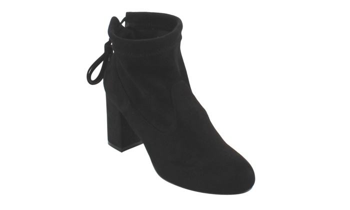 Beston FC76 Women's Ankle Tie Up Block Heel Ankle Booties