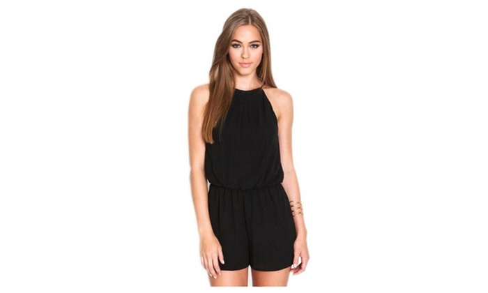 Cocolife: Balck Sexy Women Sleeveless Jumpsuits Rompers