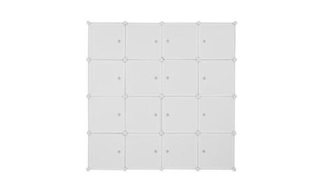 16 Cube Organizer Stackable Plastic Storage Shelves Closet Cabinet