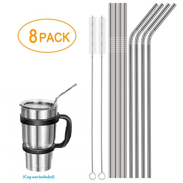 4 Straight 4 Bent 2 Brushes 10.5-inch Long Metal Straws for Drinking Beverage Tea Coffee Cocktail Straws 8-Piece Stainless Steel Straws