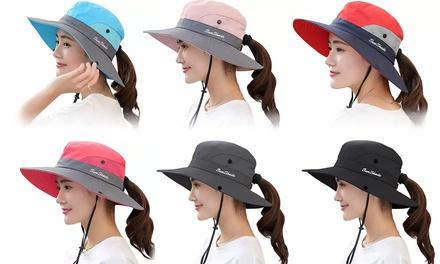 Womens UV Sun Protection Beach Cap Foldable Wide Brim Ponytail Beach Bucket Cap