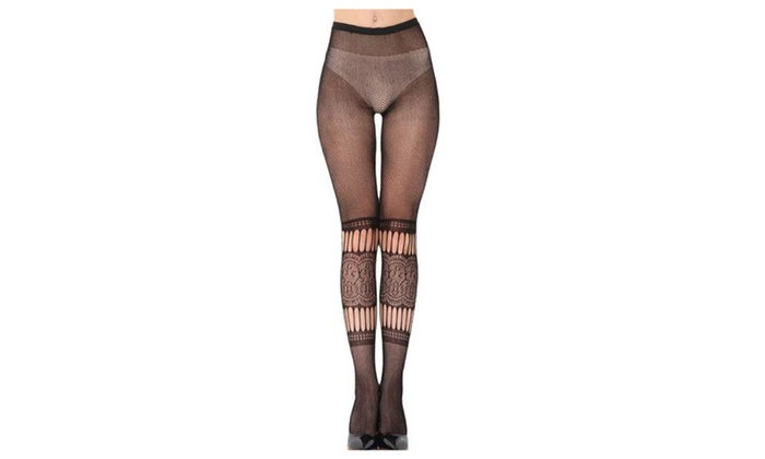 Women's Casual Solid Mesh 1 Pack Waist Cuff Pantyhose - Black / One Size