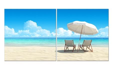 "Split Canvas Art Set 24""x 24"" 2 Pieces Relax At The Beach 9c3b2e6e-156a-40a8-970e-5eef320aa326"