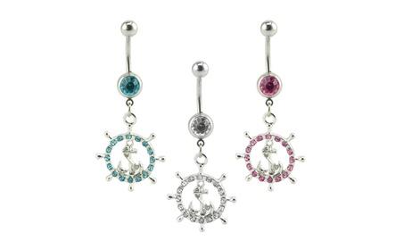 Supreme Body Jewelry Nautical Wheel and Anchor Belly Ring 3-pack 72b3cdf5-a3b5-488b-8a9b-06d6875fadb2