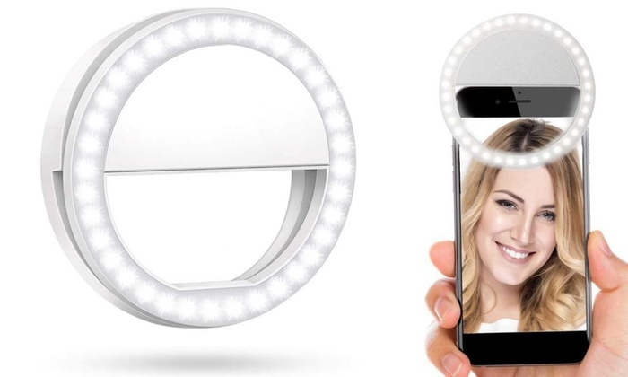34d200e9754 Bright LED Selfie Clip Ring Light for All Phone Models | Groupon