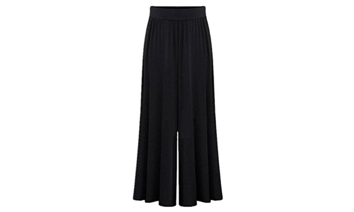 Women's Wide leg Elastic Waistband Palazzo Pants Long Trousers