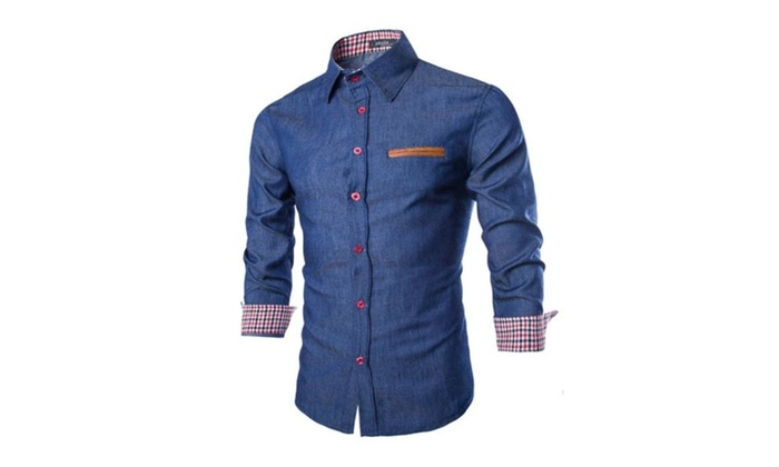 Men's Casual Dress Shirt Button Down Denim Shirts – Dark blue / One Size