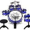 Toy Drum Set for Children 11 Piece Kid's Musical Instrument Drum Playset  (Blue)